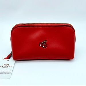 NWT Coach PAC-MAN Cosmetic Case Watermelon Leather